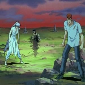 Kurama hiei kuwabara vs Shinobu Sensui demon world Yu Yu Hakusho anime Japan
