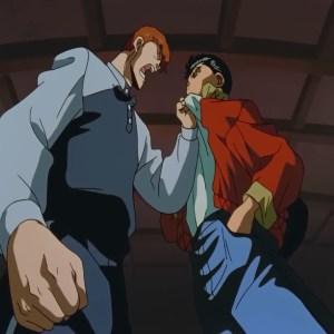 Kazuma Kuwabara upset with Yusuke Urameshi three kings saga Yu Yu Hakusho anime Japan