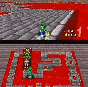 Luigi drift Bowser Castle 2 super Mario Kart snes Nintendo