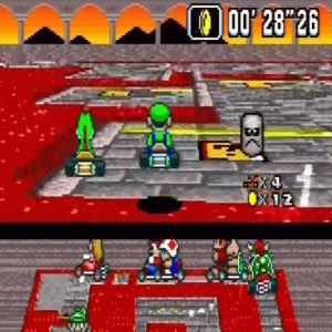 Bowser Castle 3 Luigi and yoshi super Mario Kart snes Nintendo