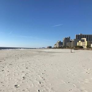 Ocean and sand near boardwalk Myrtle Beach south carolina