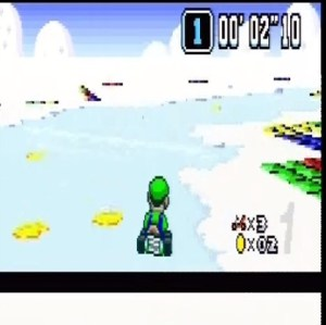 Luigi Vanilla Lake 1 Super Mario Kart snes Nintendo