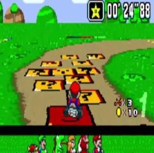 Donut Plains 3 star super Mario Kart snes Nintendo