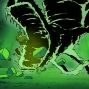 Hiei hits Shinobu Sensui with dragon of the darkness flame Yu Yu Hakusho anime Japan