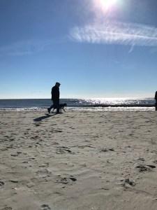 Man walking dog on beach Myrtle Beach south carolina