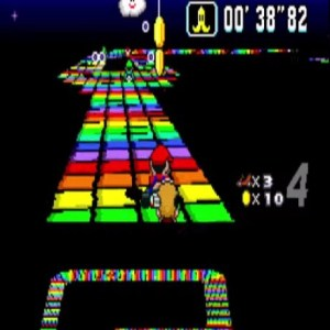 Rainbow road banana item super Mario Kart snes Nintendo