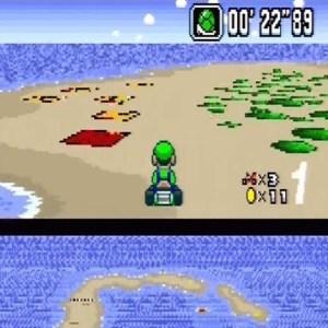 Luigi green shell super Mario Kart snes Nintendo