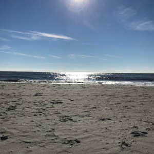 Sun shining down on Myrtle Beach and Atlantic Ocean south carolina