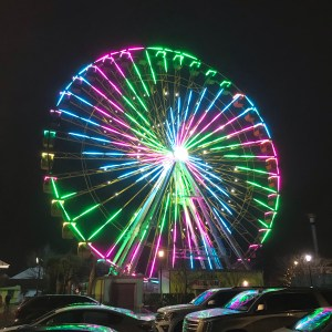 Glowing ferris-wheel nighttime Pavillion amusement park Myrtle Beach south carolina