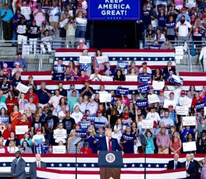 Donald Trump Maga rally of insane and racist supporters