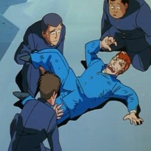 Kazuma Kuwabara defeated by Yusuke Urameshi Yu Yu Hakusho anime Japan