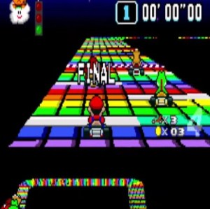 Rainbow road yoshi princess peach super Mario Kart snes Nintendo