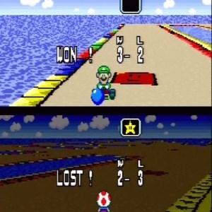 Luigi VS toad super Mario Kart snes Nintendo battle mode