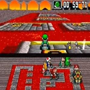 Lava jump Bowser Castle 2 super Mario Kart snes Nintendo