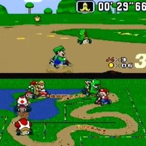 Moles jumping Luigi and yoshi super Mario Kart donut Plains 2 snes Nintendo
