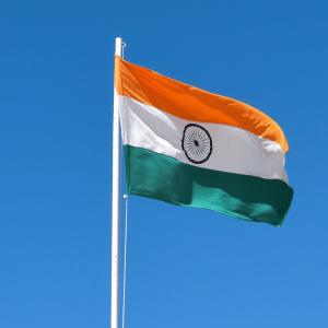 Flag of India on flag pole