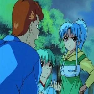 Botan almost lets Yukina know that her brother is hiei Yu Yu Hakusho anime Japan