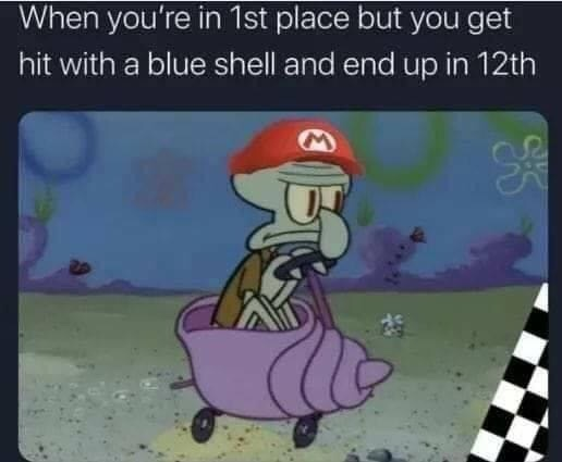 Memes Mario kart blue shell
