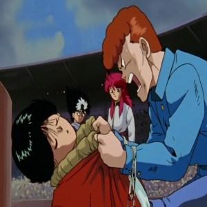Kazuma Kuwabara yells at Yusuke Urameshi Yu Yu Hakusho anime Japan