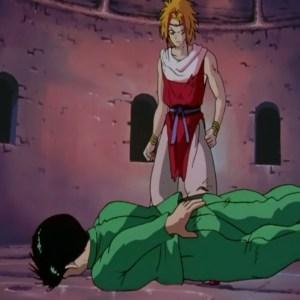 Yusuke Urameshi struggles against suzaku Yu Yu Hakusho anime Japan
