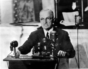 Harry Truman speaking to the American people