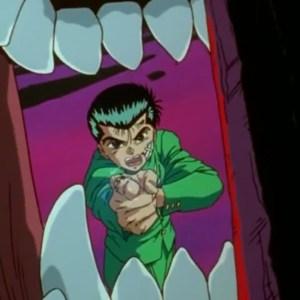 Yusuke Urameshi fires spirit gun Yu Yu Hakusho anime Japan