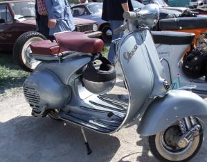 Silver Vespa scooter