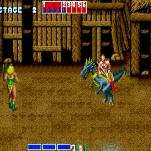 Tyris Flare riding blue dragon Golden axe Sega genesis arcade