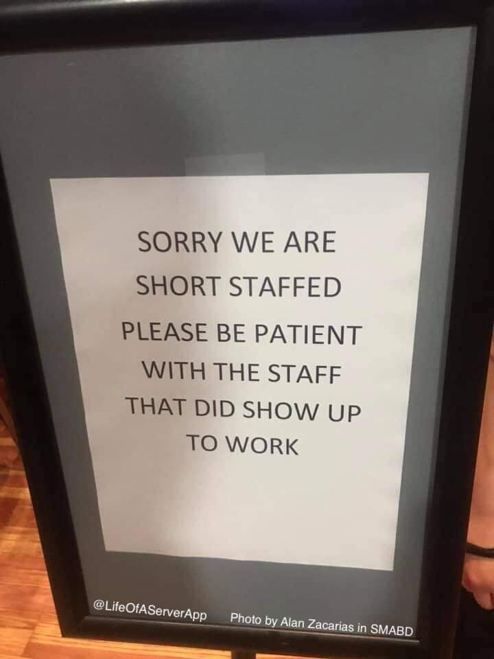 Memes Short staffed restaurant