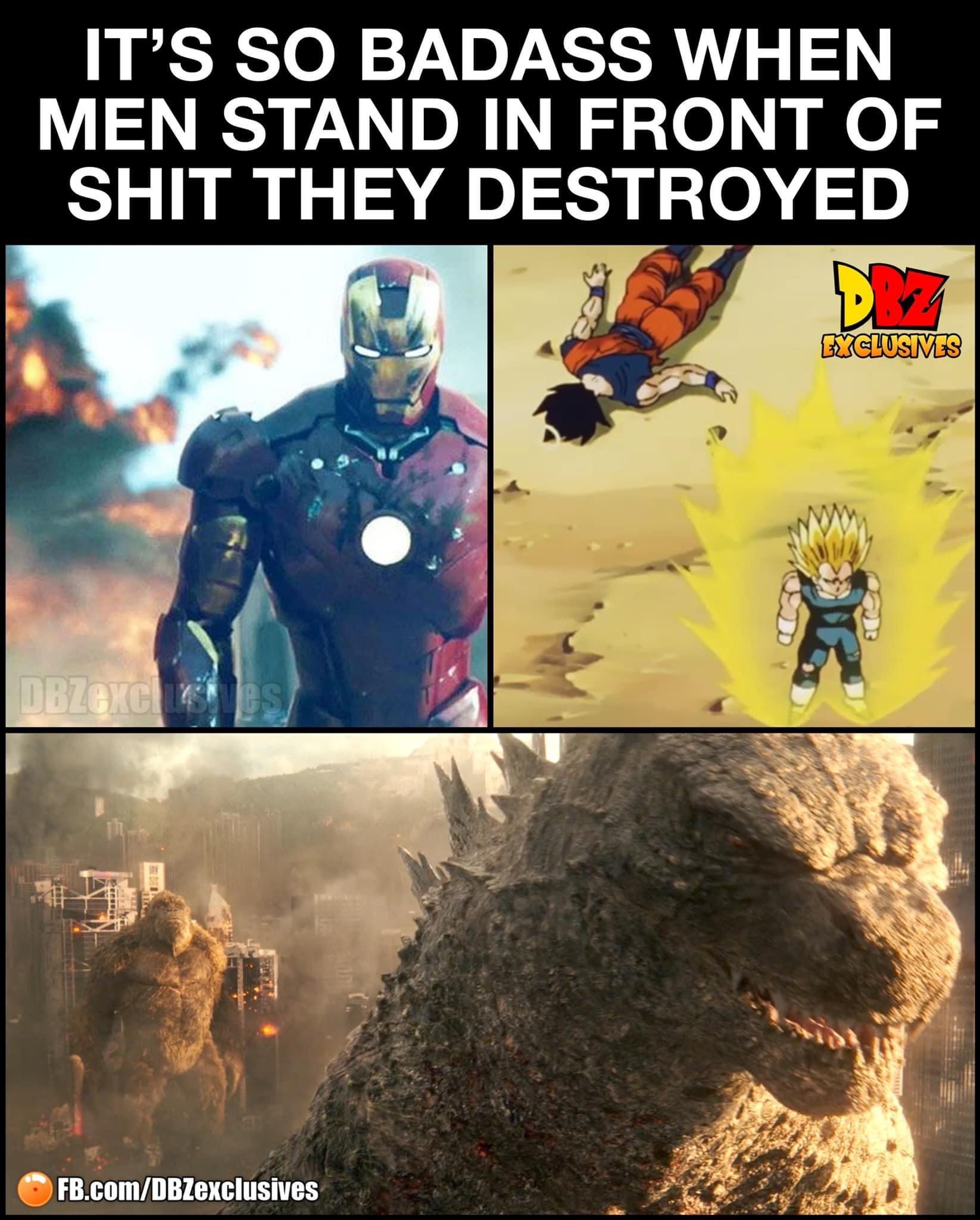 Memes Godzilla King Kong Vegeta Goku Iron Man Tony Stark