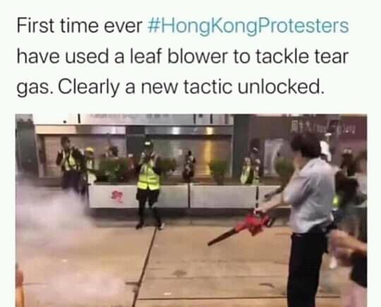 Leaf blower Hong Kong protest China memes