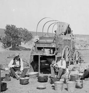 Guys eating out of a food wagon 19th century Chuck Wagon United States of America