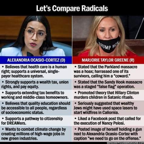 Memes AOC versus Marjorie green Republican radical Democrat radical
