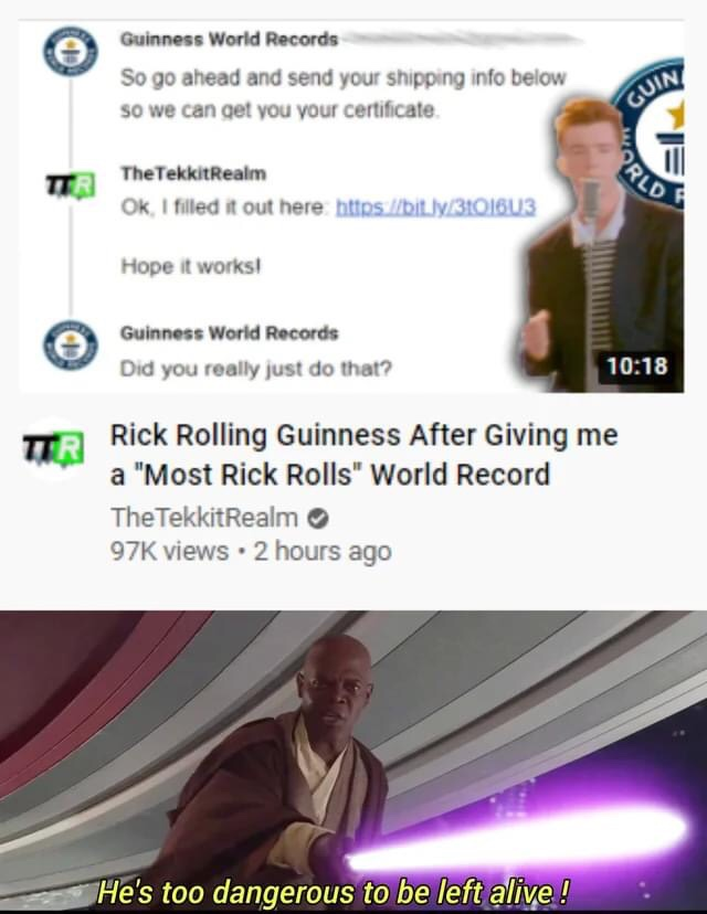 Memes Rick rolling Guinness book of world records