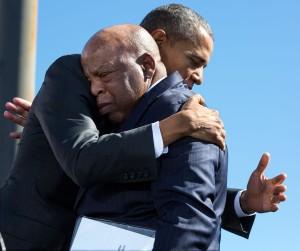 Obama hugging John Lewis