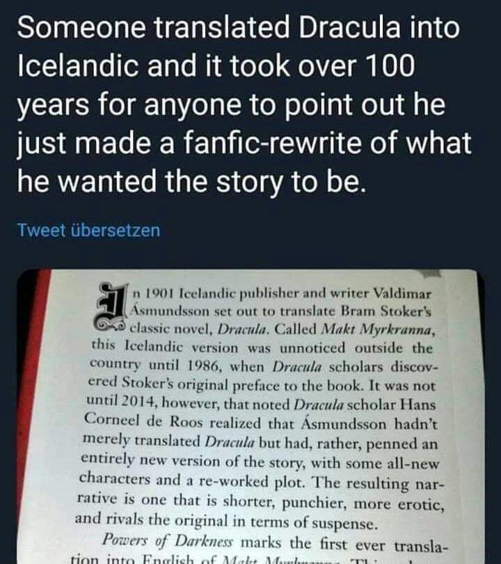 Memes Dracula Icelandic translation Iceland