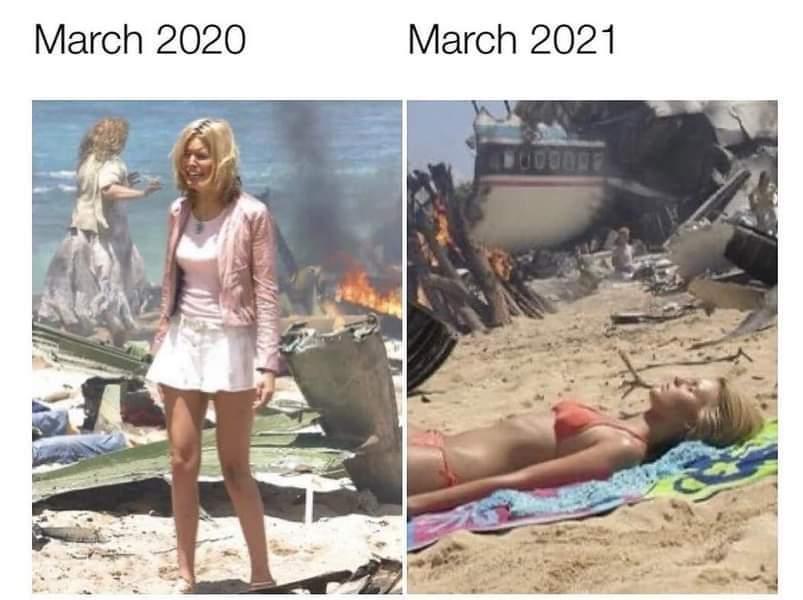 Memes March 2020 versus March 2021