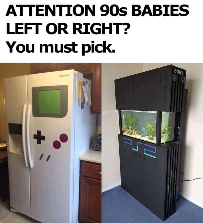 Memes Game boy fridge versus PS2 fish tank