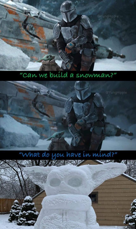 Memes Baby Yoda snowman