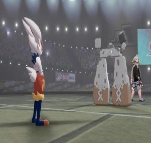 Stonjourner gordie vs cinderace Pokemon Sword Nintendo switch gymboss Game Freak