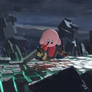 Northern Cave stage super Smash Bros ultimate Kirby VS cloud strife Nintendo Switch