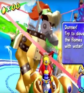 Mario shooting missiles at Mecha Bowser Super Mario Sunshine Nintendo GameCube