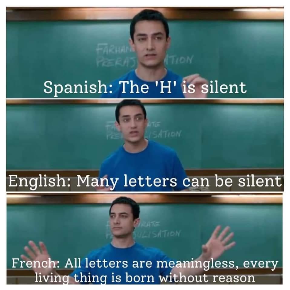 Memes English versus French versus Spanish