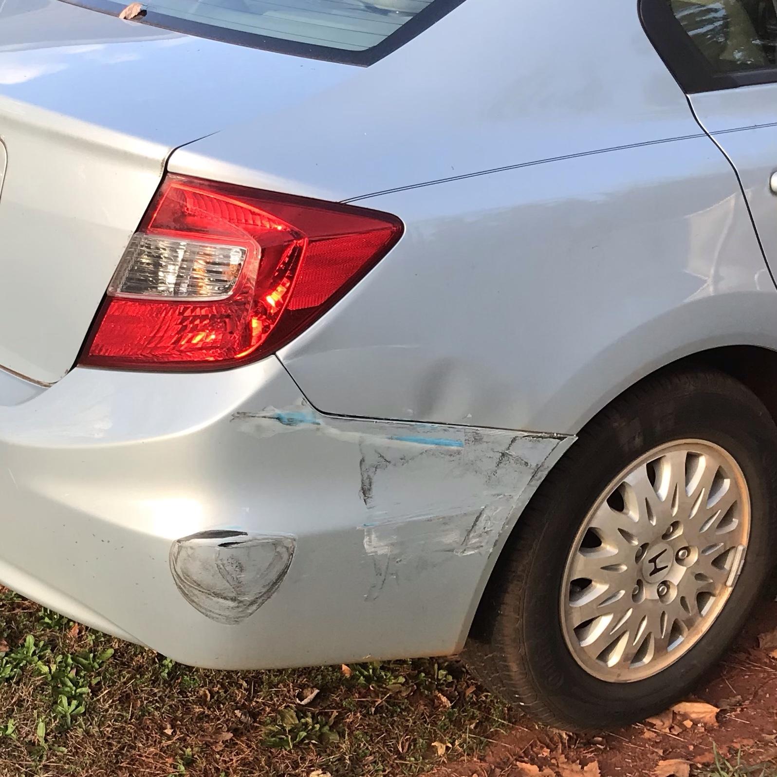 Honda car damaged rear end