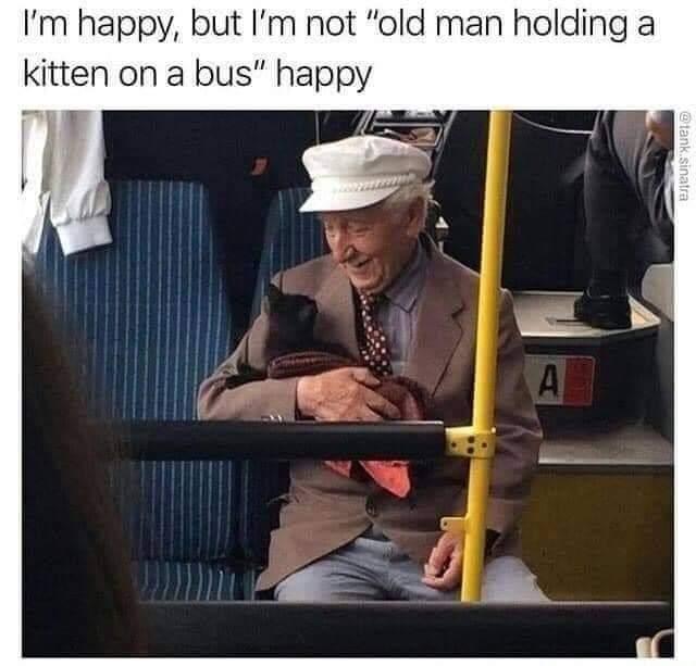 Memes Old man holding cat happy