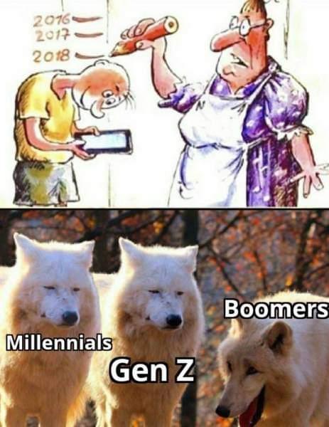 Memes Boomers laughing at cartoons