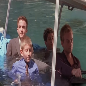 Malcolm in the middle Reese Francis Dewey and Malcolm drive into pool with golf cart Frankie Muniz  Erik Per Sullivan Justin Berfield Christopher Kennedy Masterson