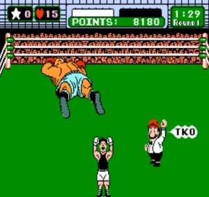 Bald bull defeated Punch Out Nintendo Mario referee cameo NES