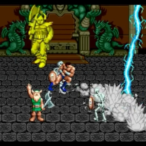Gilius Thunderhead uses lightning magic on death Bringer golden axe Sega genesis Sega mega drive