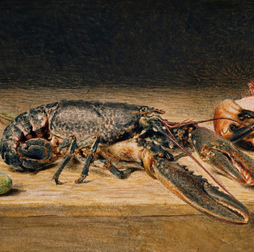 Artwork of Lobster on wooden countertop